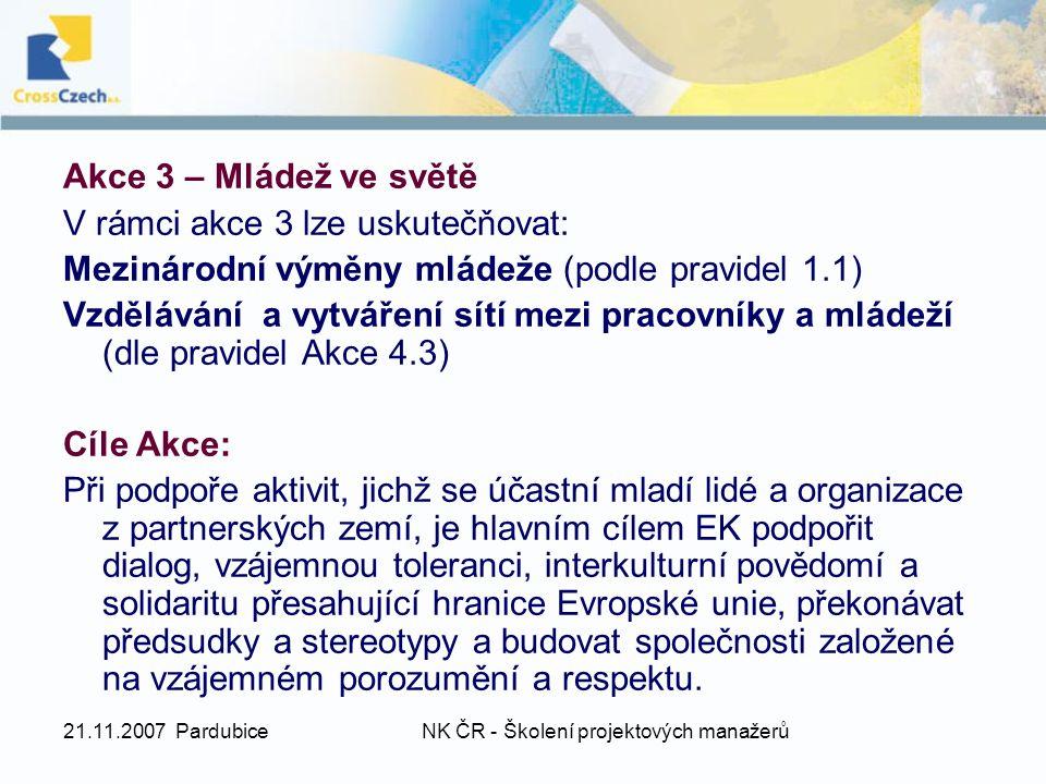 21.11.2007 PardubiceNK ČR - Školení projektových manažerů Akce 3 – Mládež ve světě V rámci akce 3 lze uskutečňovat: Mezinárodní výměny mládeže (podle