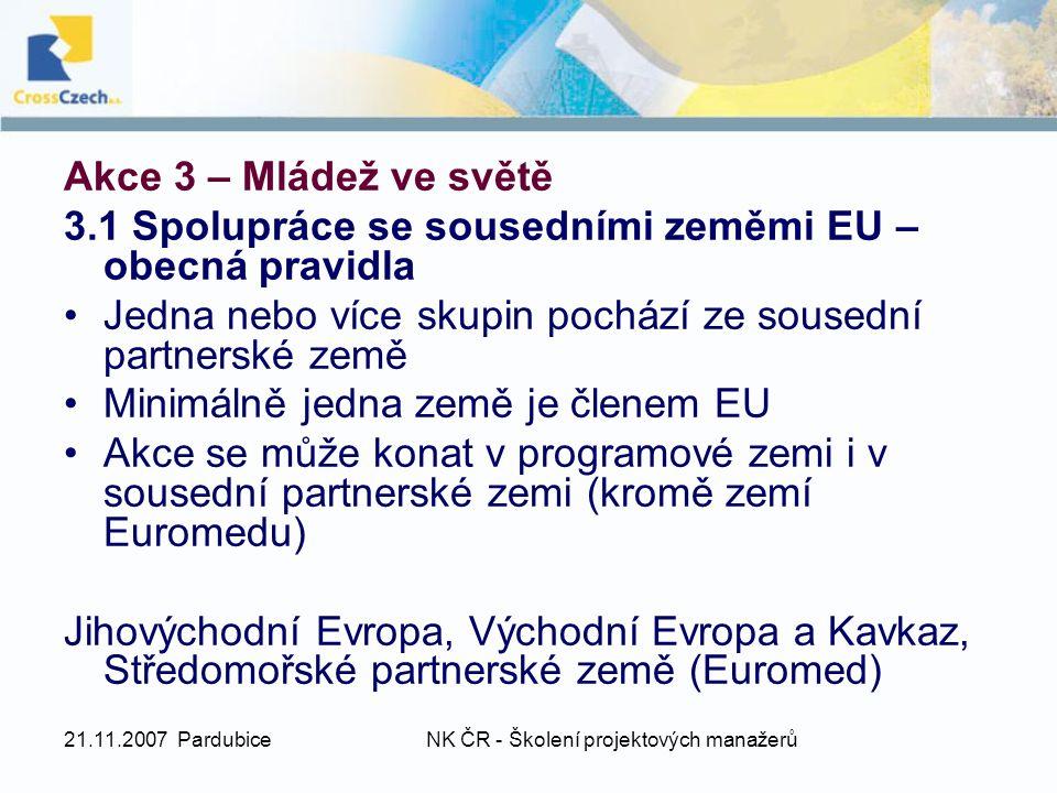 21.11.2007 PardubiceNK ČR - Školení projektových manažerů Akce 3 – Mládež ve světě 3.1 Spolupráce se sousedními zeměmi EU – obecná pravidla Jedna nebo více skupin pochází ze sousední partnerské země Minimálně jedna země je členem EU Akce se může konat v programové zemi i v sousední partnerské zemi (kromě zemí Euromedu) Jihovýchodní Evropa, Východní Evropa a Kavkaz, Středomořské partnerské země (Euromed)