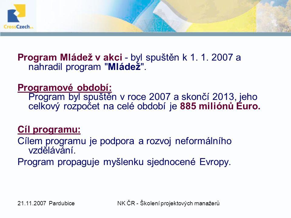 21.11.2007 PardubiceNK ČR - Školení projektových manažerů Program Mládež v akci - byl spuštěn k 1. 1. 2007 a nahradil program