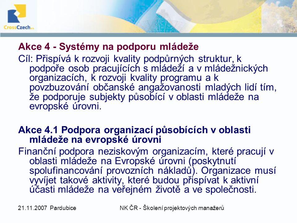 21.11.2007 PardubiceNK ČR - Školení projektových manažerů Akce 4 - Systémy na podporu mládeže Cíl: Přispívá k rozvoji kvality podpůrných struktur, k p