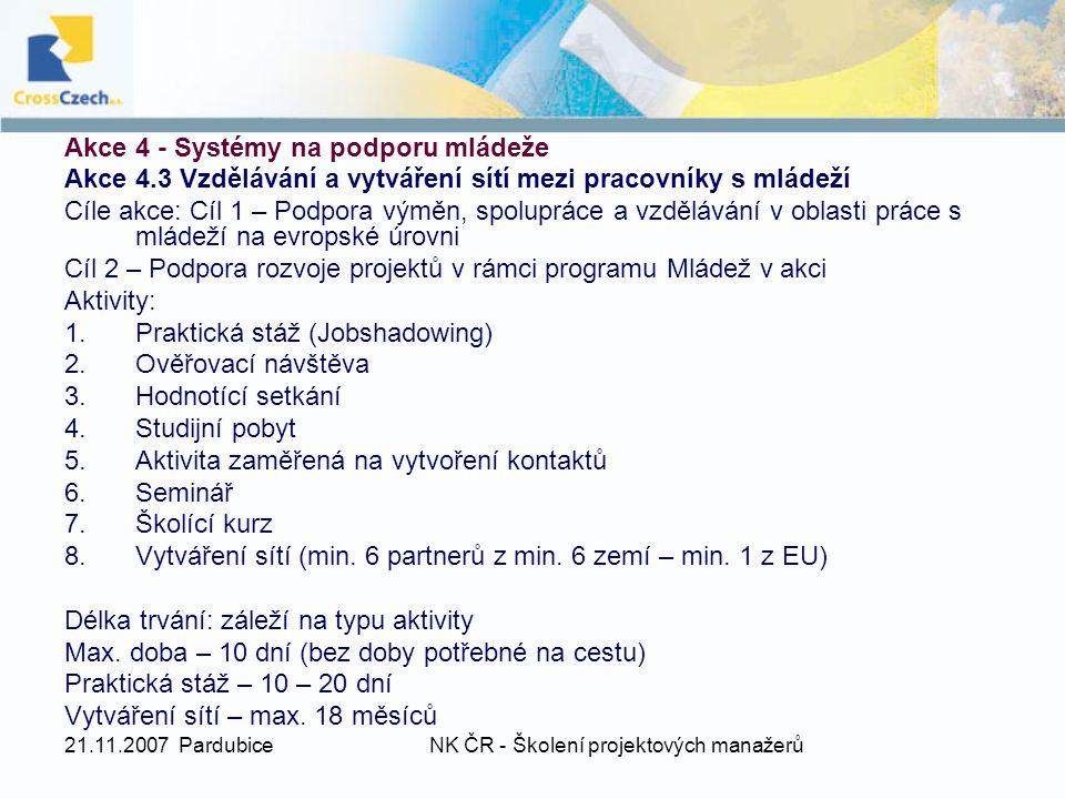 21.11.2007 PardubiceNK ČR - Školení projektových manažerů Akce 4 - Systémy na podporu mládeže Akce 4.3 Vzdělávání a vytváření sítí mezi pracovníky s m