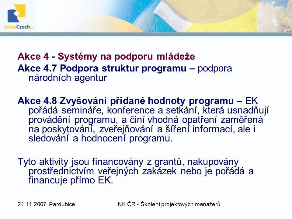 21.11.2007 PardubiceNK ČR - Školení projektových manažerů Akce 4 - Systémy na podporu mládeže Akce 4.7 Podpora struktur programu – podpora národních agentur Akce 4.8 Zvyšování přidané hodnoty programu – EK pořádá semináře, konference a setkání, která usnadňují provádění programu, a činí vhodná opatření zaměřená na poskytování, zveřejňování a šíření informací, ale i sledování a hodnocení programu.