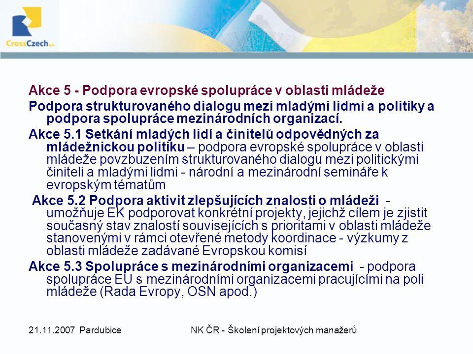 21.11.2007 PardubiceNK ČR - Školení projektových manažerů Akce 5 - Podpora evropské spolupráce v oblasti mládeže Podpora strukturovaného dialogu mezi