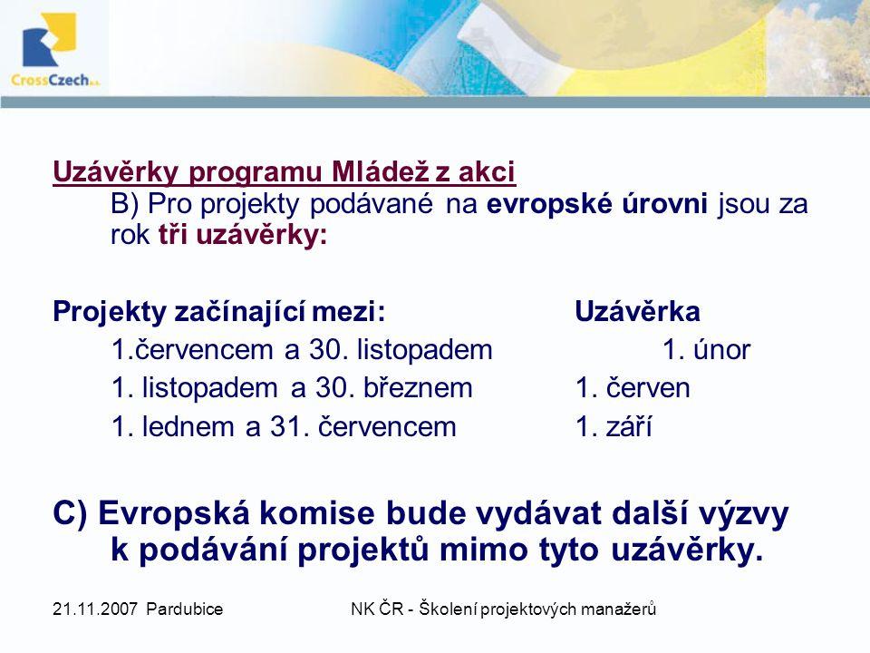 21.11.2007 PardubiceNK ČR - Školení projektových manažerů Uzávěrky programu Mládež z akci B) Pro projekty podávané na evropské úrovni jsou za rok tři uzávěrky: Projekty začínající mezi:Uzávěrka 1.červencem a 30.