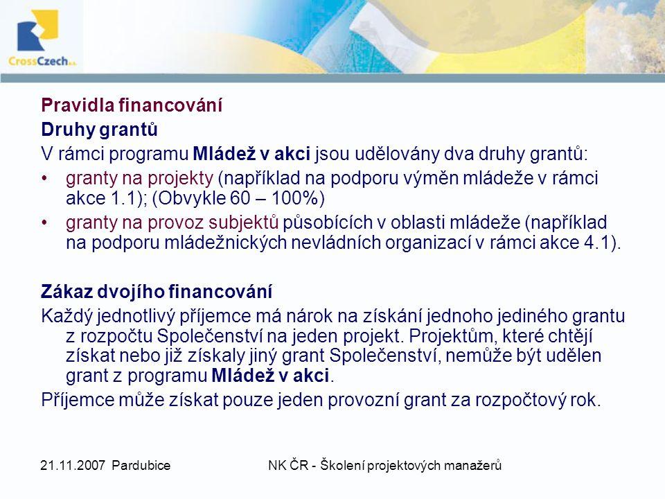 21.11.2007 PardubiceNK ČR - Školení projektových manažerů Pravidla financování Druhy grantů V rámci programu Mládež v akci jsou udělovány dva druhy grantů: granty na projekty (například na podporu výměn mládeže v rámci akce 1.1); (Obvykle 60 – 100%) granty na provoz subjektů působících v oblasti mládeže (například na podporu mládežnických nevládních organizací v rámci akce 4.1).