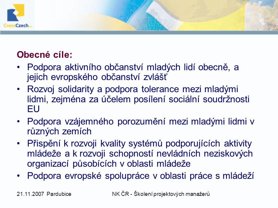 21.11.2007 PardubiceNK ČR - Školení projektových manažerů Obecné cíle: Podpora aktivního občanství mladých lidí obecně, a jejich evropského občanství