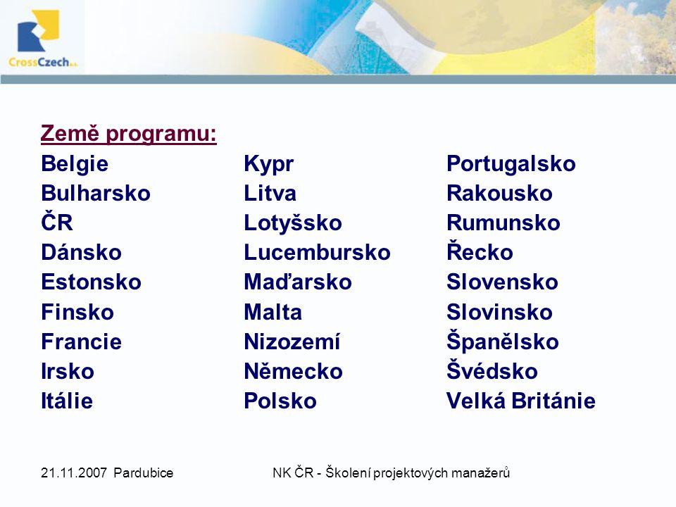 21.11.2007 PardubiceNK ČR - Školení projektových manažerů Země programu: Účastnické státy zemí evropské dohody o volném obchodu (EFTA): Island, Lichtenštejnsko, Norsko Země, které kandidují na vstup do EU: Turecko Účastníci ze zemí programu se mohou zapojit do všech Akcí programu Mládež v Akci.