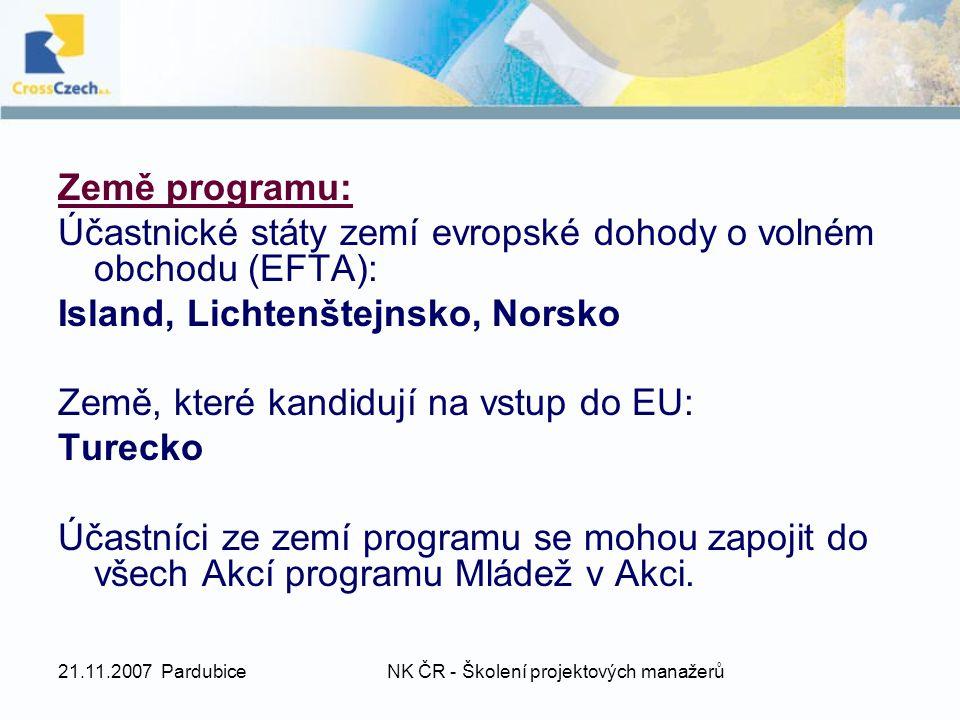 21.11.2007 PardubiceNK ČR - Školení projektových manažerů Země programu: Účastnické státy zemí evropské dohody o volném obchodu (EFTA): Island, Lichte