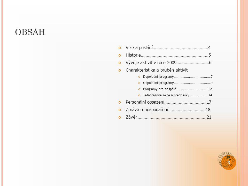 OBSAH Vize a poslání…………….…………………………4 Historie………………..………………………………5 Vývoje aktivit v roce 2009………………………6 Charakteristika a průběh aktivit Dopolední pr