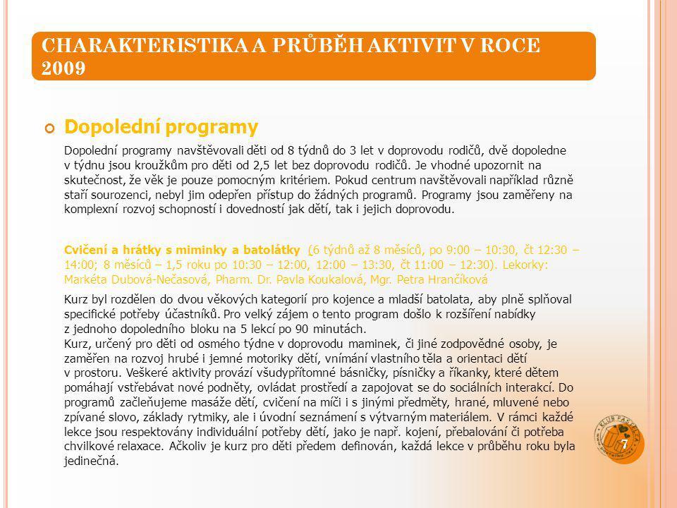 Cvičení s dětmi (děti od 1,5 do 3 let doprovodem, čt 9:00 – 10:00) Cvičení bylo zahájeno v září 2009.