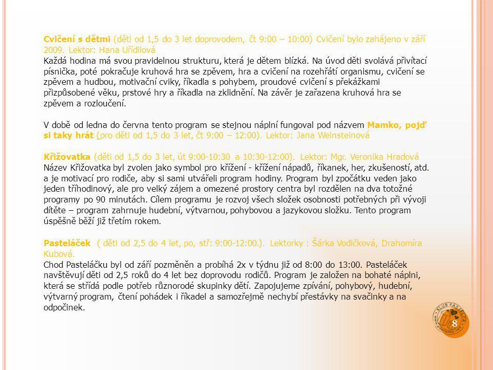 Cvičení s dětmi (děti od 1,5 do 3 let doprovodem, čt 9:00 – 10:00) Cvičení bylo zahájeno v září 2009. Lektor: Hana Uřídilová Každá hodina má svou prav