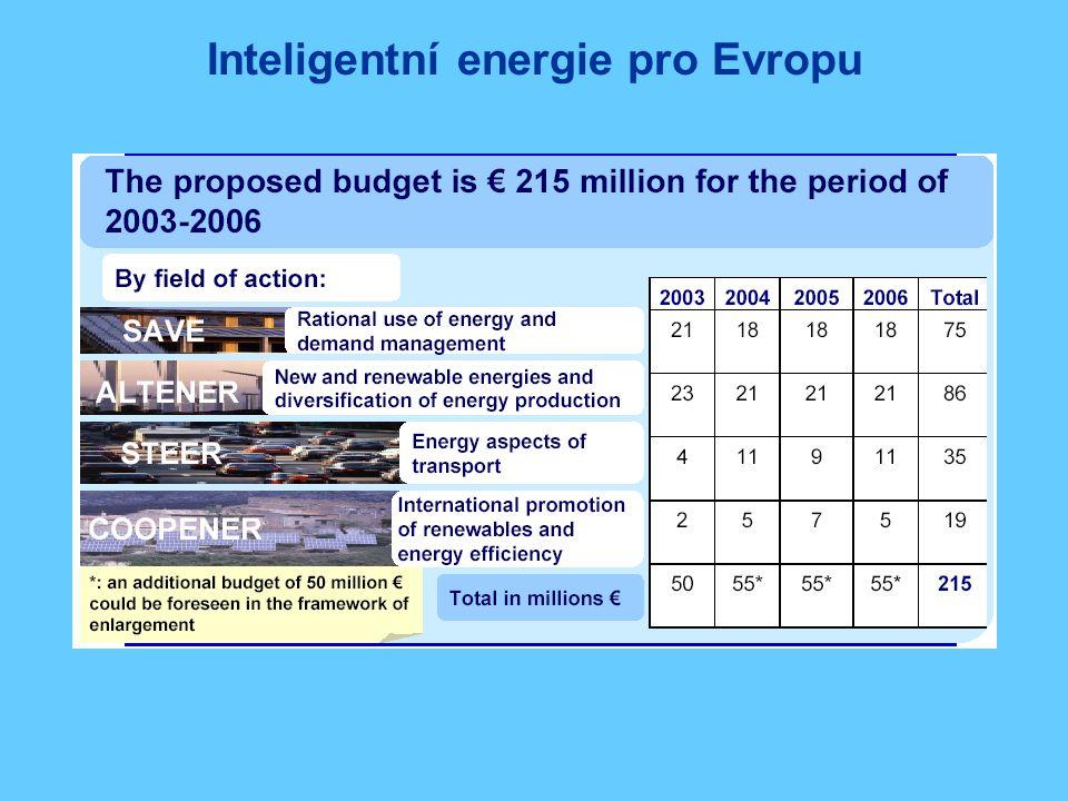 Inteligentní energie pro Evropu Víceletý program EU pro energetiku 2003 - 2006:  Bezpečnost zásobování energií  Boj proti změnám klimatu Oblast spotřeby:  doprava, stavebnictví, elektrické přístroje Oblast zásobování:  nové a obnovitelné zdroje energie IEE = hlavní nástroj na netechnologickou podporu energetiky:  ALTENER – obnovitelné zdroje energie (OZE)  SAVE – efektivní nakládání s energií (RUE)  COOPENER – mezinárodní podpora zaměřená na OZE a RUE  STEER – energetické aspekty v dopravě