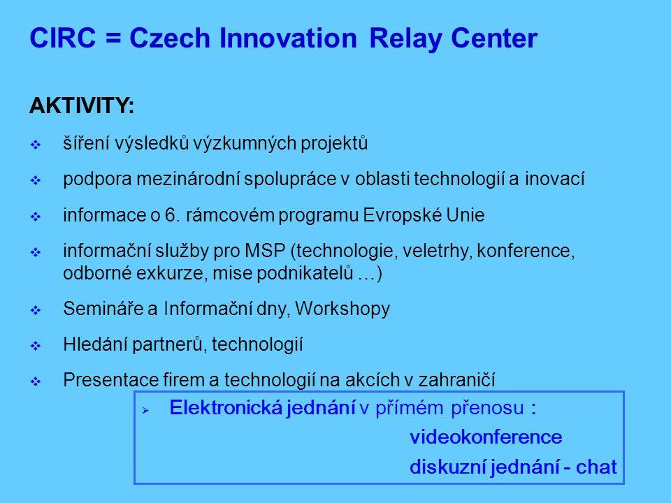 Účastníci: Europská Unie Kandidátské země Island, Norsko, Švýcarsko, Izrael 68 IRC členů ze 30 zemí Evropská síť Inovačních Center - IRC: (Innovation Relay Centers network)