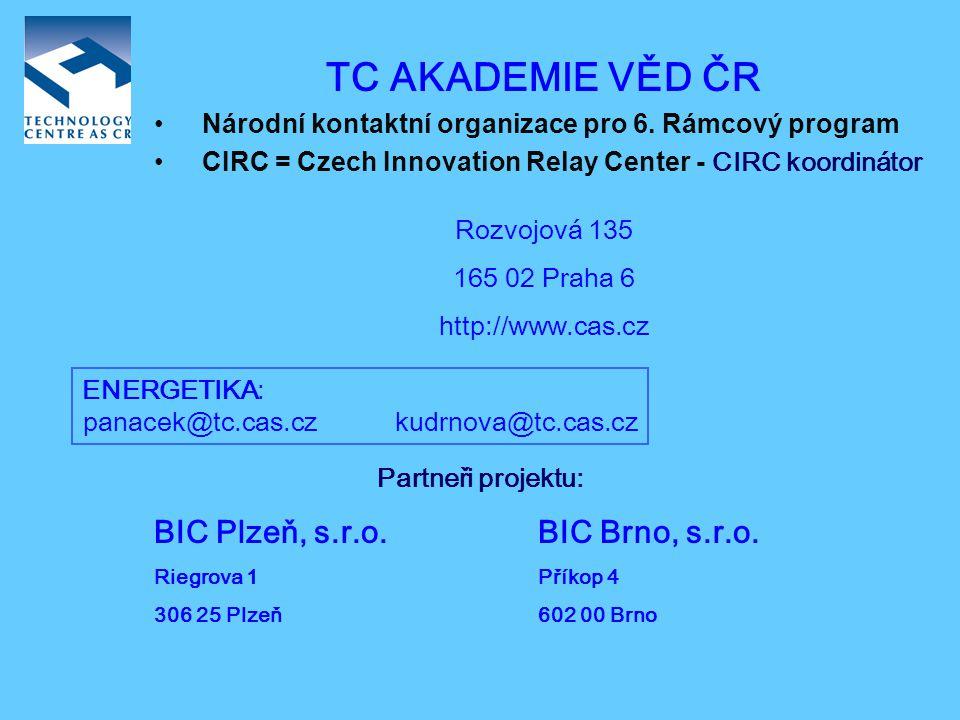 CIRC = Czech Innovation Relay Center AKTIVITY:  šíření výsledků výzkumných projektů  podpora mezinárodní spolupráce v oblasti technologií a inovací  informace o 6.