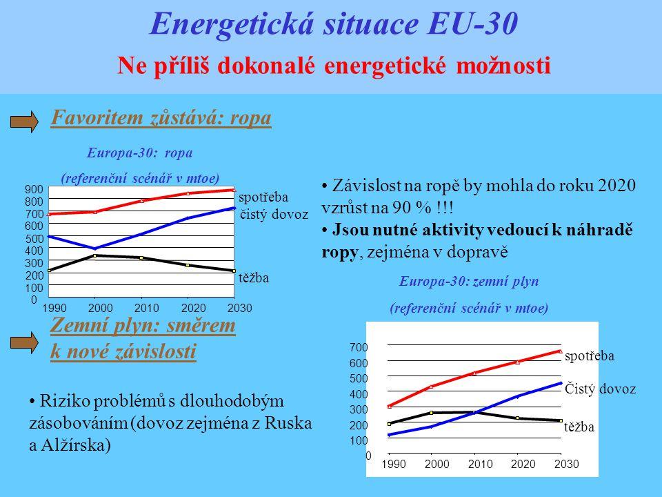 Energetická situace EU-30 Ne příliš dokonalé energetické možnosti Favoritem zůstává: ropa Europa-30: ropa (referenční scénář v mtoe) 0 100 200 300 400 500 600 700 800 900 1990200020102020 2030 těžba čistý dovoz spotřeba Závislost na ropě by mohla do roku 2020 vzrůst na 90 % !!.