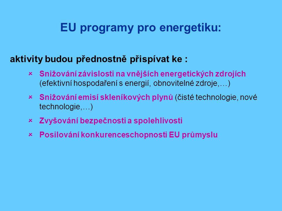 EU programy pro energetiku: aktivity budou přednostně přispívat ke :  Snižování závislosti na vnějších energetických zdrojích (efektivní hospodaření s energií, obnovitelné zdroje,…)  Snižování emisí skleníkových plynů (čisté technologie, nové technologie,…)  Zvyšování bezpečnosti a spolehlivosti  Posilování konkurenceschopnosti EU průmyslu