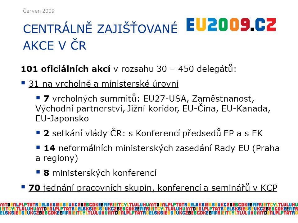 Červen 2009 CENTRÁLNĚ ZAJIŠŤOVANÉ AKCE V ČR 101 oficiálních akcí v rozsahu 30 – 450 delegátů:  31 na vrcholné a ministerské úrovni  7 vrcholných summitů: EU27-USA, Zaměstnanost, Východní partnerství, Jižní koridor, EU-Čína, EU-Kanada, EU-Japonsko  2 setkání vlády ČR: s Konferencí předsedů EP a s EK  14 neformálních ministerských zasedání Rady EU (Praha a regiony)  8 ministerských konferencí  70 jednání pracovních skupin, konferencí a seminářů v KCP
