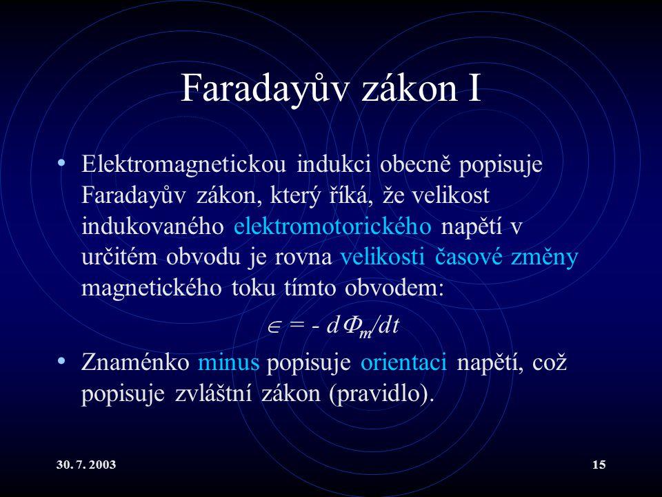 30. 7. 200315 Faradayův zákon I Elektromagnetickou indukci obecně popisuje Faradayův zákon, který říká, že velikost indukovaného elektromotorického na