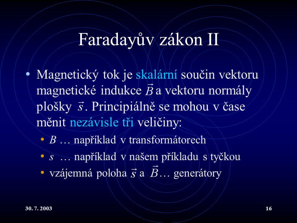 30. 7. 200316 Faradayův zákon II Magnetický tok je skalární součin vektoru magnetické indukce a vektoru normály plošky. Principiálně se mohou v čase m