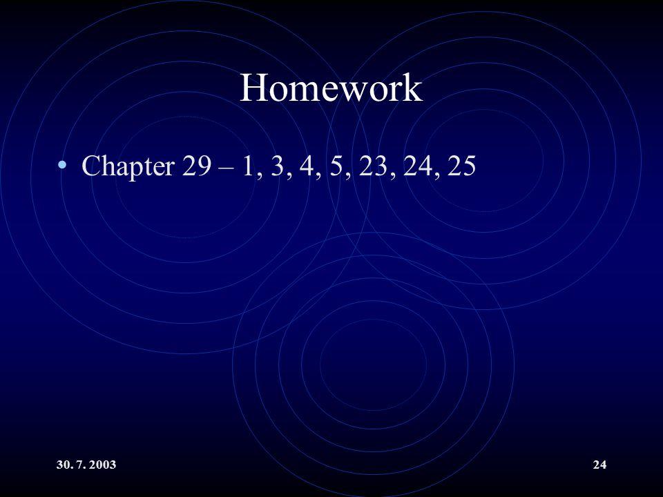 30. 7. 200324 Homework Chapter 29 – 1, 3, 4, 5, 23, 24, 25