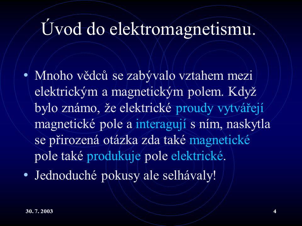 30. 7. 20034 Úvod do elektromagnetismu. Mnoho vědců se zabývalo vztahem mezi elektrickým a magnetickým polem. Když bylo známo, že elektrické proudy vy