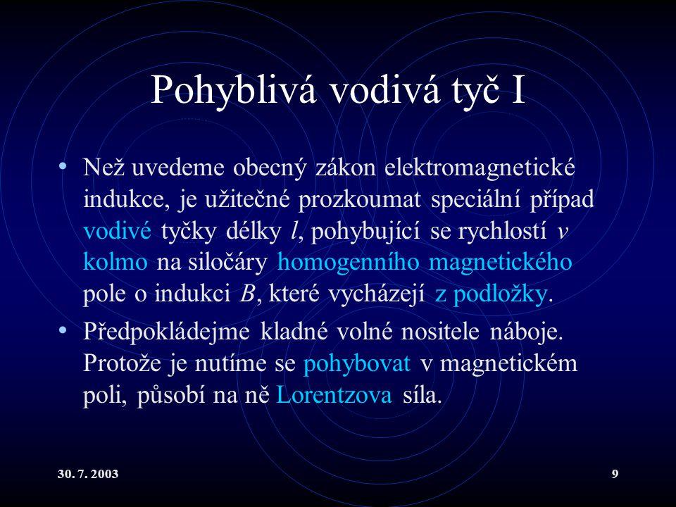 30. 7. 20039 Pohyblivá vodivá tyč I Než uvedeme obecný zákon elektromagnetické indukce, je užitečné prozkoumat speciální případ vodivé tyčky délky l,
