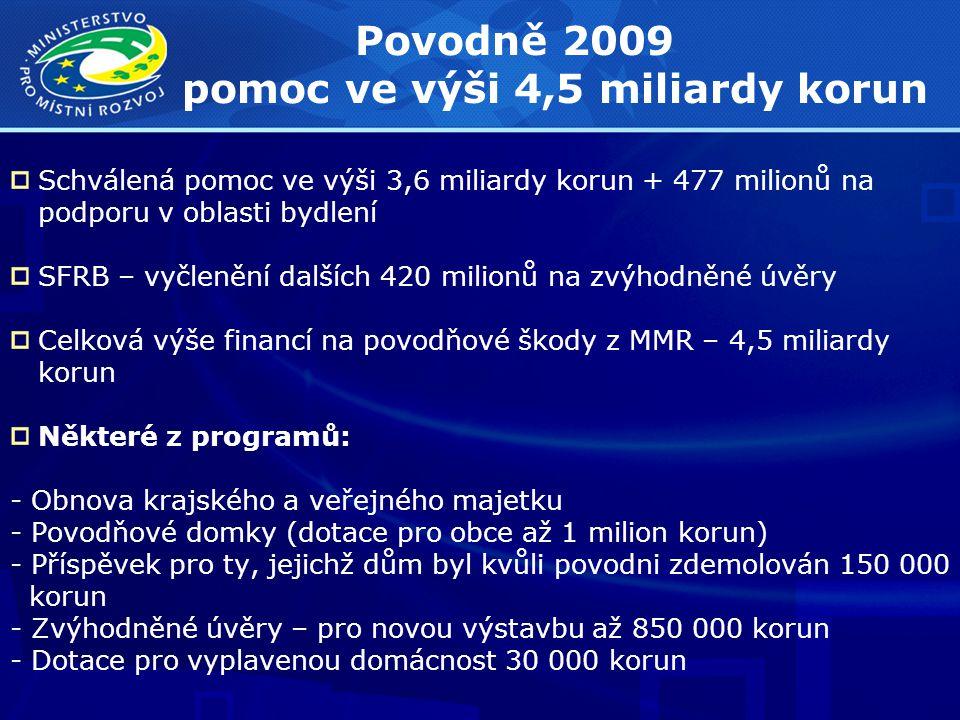 Povodně 2009 pomoc ve výši 4,5 miliardy korun Schválená pomoc ve výši 3,6 miliardy korun + 477 milionů na podporu v oblasti bydlení SFRB – vyčlenění dalších 420 milionů na zvýhodněné úvěry Celková výše financí na povodňové škody z MMR – 4,5 miliardy korun Některé z programů: - Obnova krajského a veřejného majetku - Povodňové domky (dotace pro obce až 1 milion korun) - Příspěvek pro ty, jejichž dům byl kvůli povodni zdemolován 150 000 korun - Zvýhodněné úvěry – pro novou výstavbu až 850 000 korun - Dotace pro vyplavenou domácnost 30 000 korun