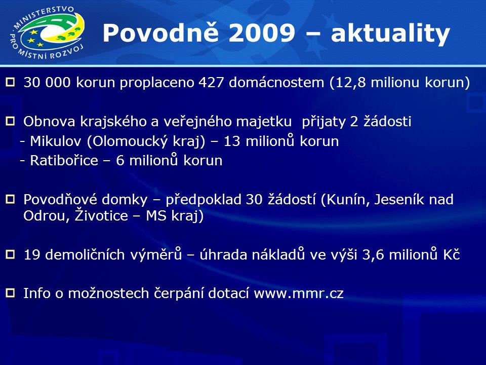 Povodně 2009 – aktuality 30 000 korun proplaceno 427 domácnostem (12,8 milionu korun) Obnova krajského a veřejného majetku přijaty 2 žádosti - Mikulov (Olomoucký kraj) – 13 milionů korun - Ratibořice – 6 milionů korun Povodňové domky – předpoklad 30 žádostí (Kunín, Jeseník nad Odrou, Životice – MS kraj) 19 demoličních výměrů – úhrada nákladů ve výši 3,6 milionů Kč Info o možnostech čerpání dotací www.mmr.cz
