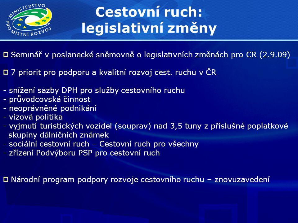 Cestovní ruch: legislativní změny Seminář v poslanecké sněmovně o legislativních změnách pro CR (2.9.09) 7 priorit pro podporu a kvalitní rozvoj cest.