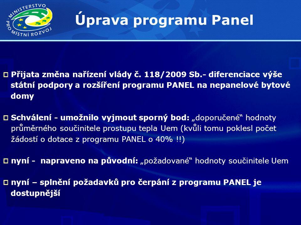 Úprava programu Panel Přijata změna nařízení vlády č. 118/2009 Sb.- diferenciace výše státní podpory a rozšíření programu PANEL na nepanelové bytové d