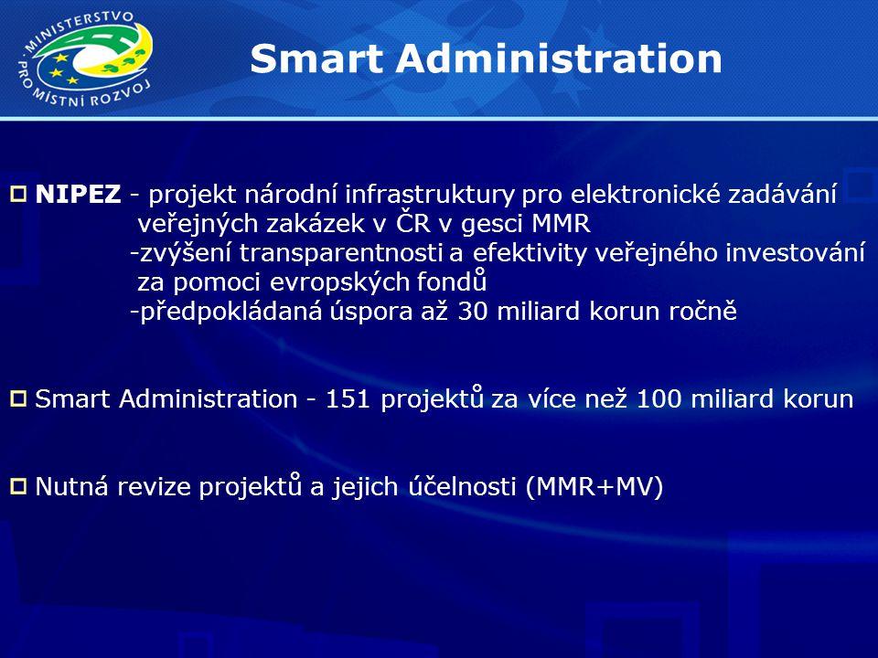 Smart Administration NIPEZ - projekt národní infrastruktury pro elektronické zadávání veřejných zakázek v ČR v gesci MMR -zvýšení transparentnosti a efektivity veřejného investování za pomoci evropských fondů -předpokládaná úspora až 30 miliard korun ročně Smart Administration - 151 projektů za více než 100 miliard korun Nutná revize projektů a jejich účelnosti (MMR+MV)