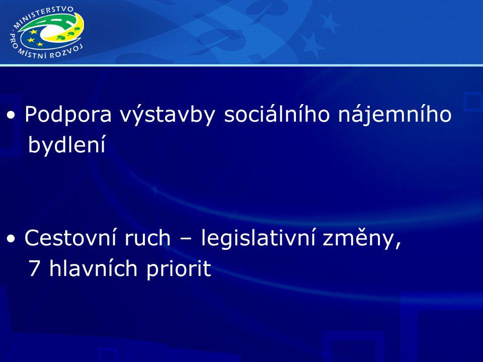Podpora výstavby sociálního nájemního bydlení Cestovní ruch – legislativní změny, 7 hlavních priorit