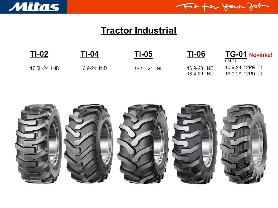 Tractor Industrial TI-06 16.9-28 IND 18.4-26 IND TI-05 19.5L-24 IND TI-04 16.9-24 IND TG-01 Novinka! (TG 1) 16.9-24 12PR TL 16.9-28 12PR TL TI-02 17.5
