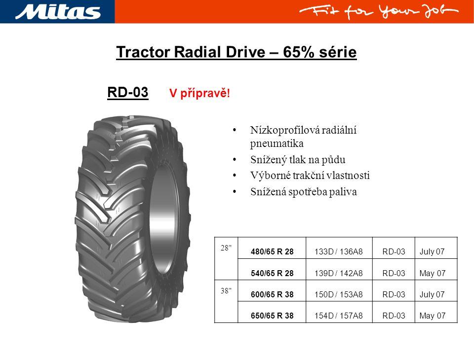 RD-03 V přípravě! Tractor Radial Drive – 65% série Nízkoprofilová radiální pneumatika Snížený tlak na půdu Výborné trakční vlastnosti Snížená spotřeba