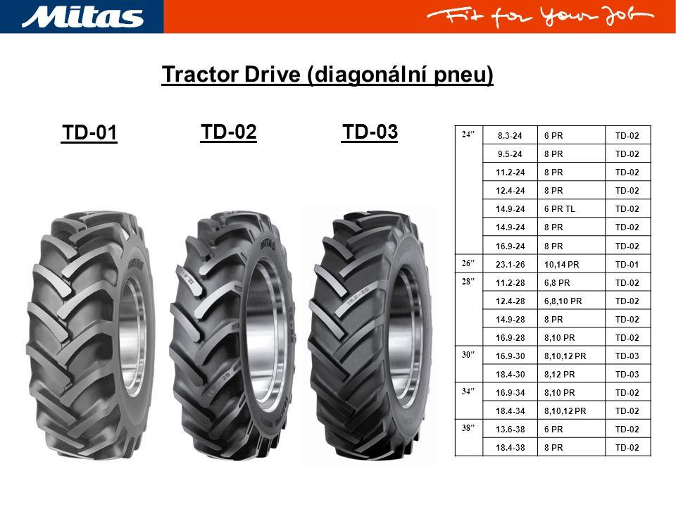 TD-02TD-03 Tractor Drive (diagonální pneu) TD-01 24 8.3-246 PRTD-02 9.5-248 PRTD-02 11.2-248 PRTD-02 12.4-248 PRTD-02 14.9-246 PR TLTD-02 14.9-248 PRTD-02 16.9-248 PRTD-02 26 23.1-2610,14 PRTD-01 28 11.2-286,8 PRTD-02 12.4-286,8,10 PRTD-02 14.9-288 PRTD-02 16.9-288,10 PRTD-02 30 16.9-308,10,12 PRTD-03 18.4-308,12 PRTD-03 34 16.9-348,10 PRTD-02 18.4-348,10,12 PRTD-02 38 13.6-386 PRTD-02 18.4-388 PRTD-02