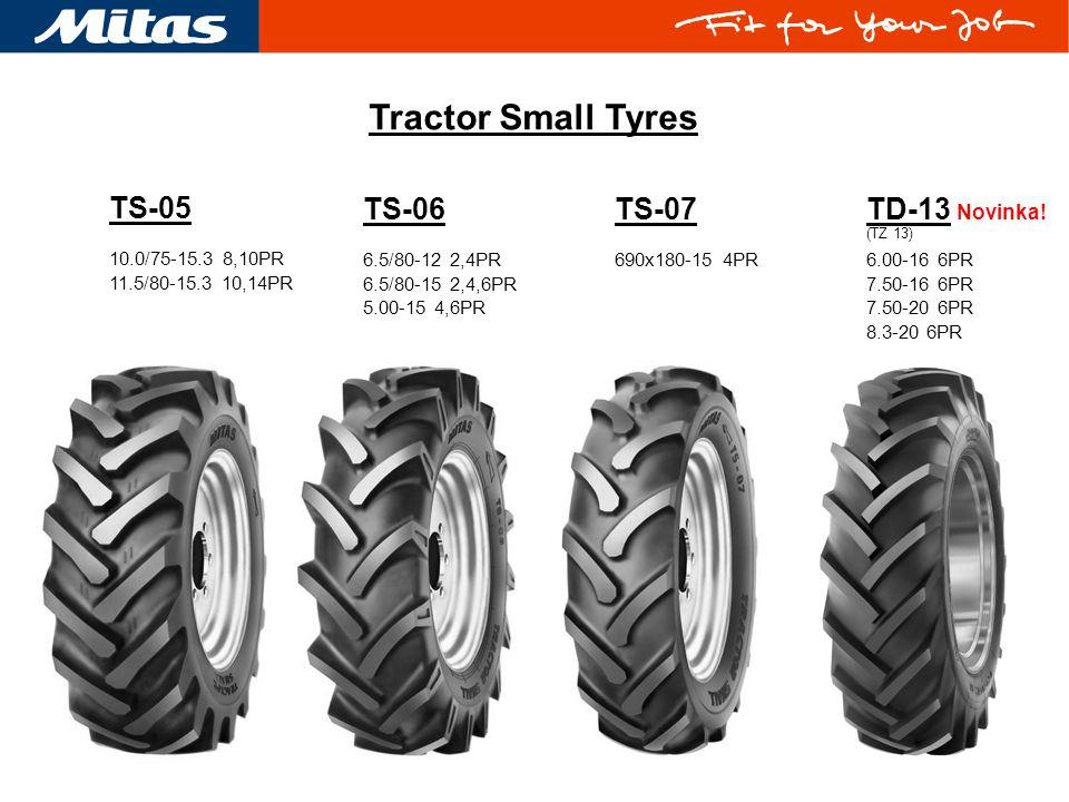 TS-06 6.5/80-12 2,4PR 6.5/80-15 2,4,6PR 5.00-15 4,6PR TS-07 690x180-15 4PR TD-13 Novinka! (TZ 13) 6.00-16 6PR 7.50-16 6PR 7.50-20 6PR 8.3-20 6PR Tract