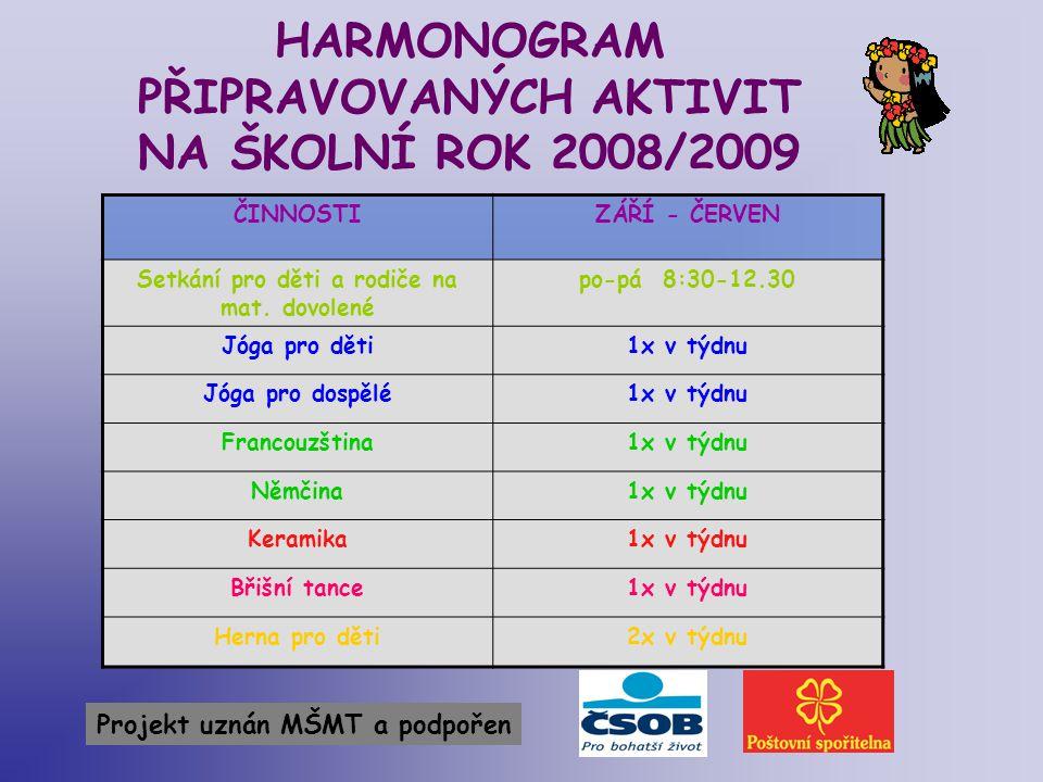 HARMONOGRAM PŘIPRAVOVANÝCH AKTIVIT NA ŠKOLNÍ ROK 2008/2009 ČINNOSTIZÁŘÍ - ČERVEN Setkání pro děti a rodiče na mat. dovolené po-pá 8:30-12.30 Jóga pro