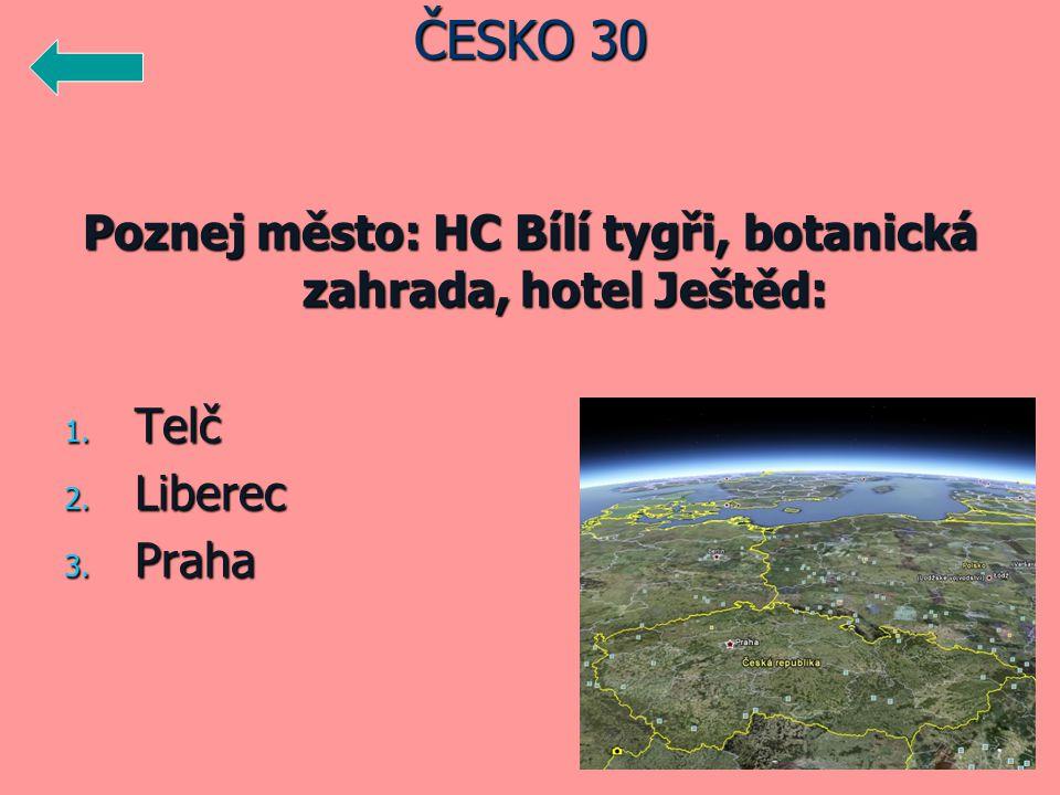 Poznej město: HC Bílí tygři, botanická zahrada, hotel Ještěd: 1. Telč 2. Liberec 3. Praha ČESKO 30