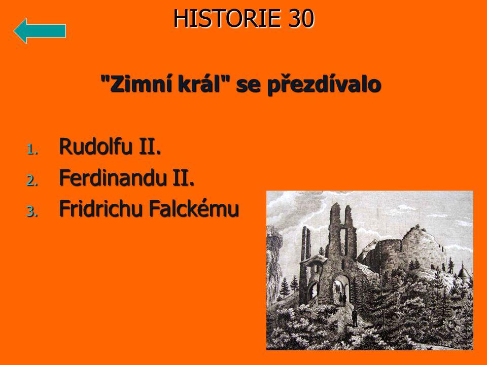 Zimní král se přezdívalo 1. Rudolfu II. 2. Ferdinandu II. 3. Fridrichu Falckému HISTORIE 30