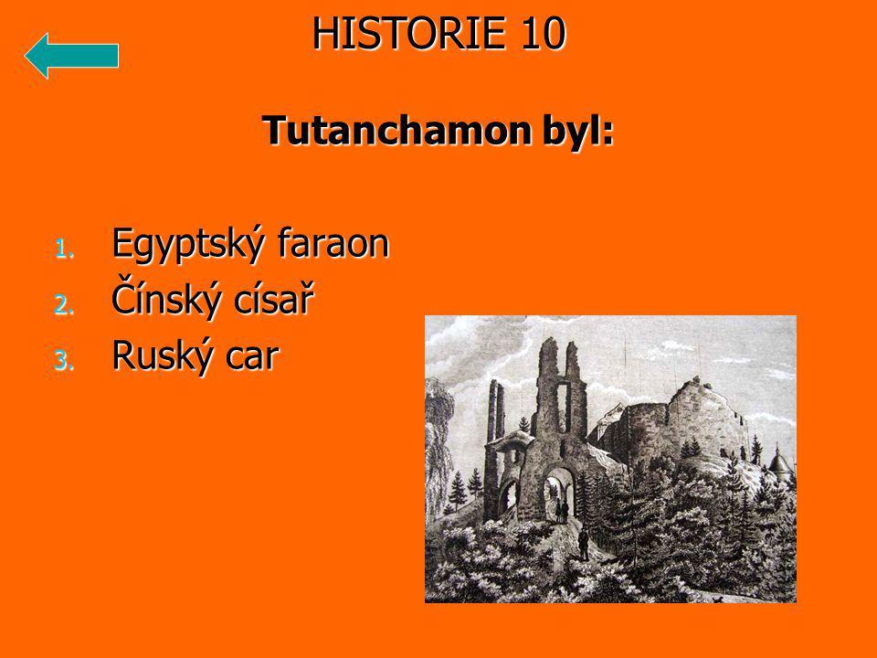 Tutanchamon byl: 1. Egyptský faraon 2. Čínský císař 3. Ruský car HISTORIE 10