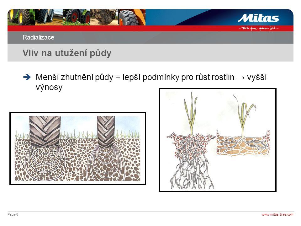 Page 7 Radializace Vliv na utužení půdy www.mitas-tires.com  Proč mm radiální pneumatiky ?
