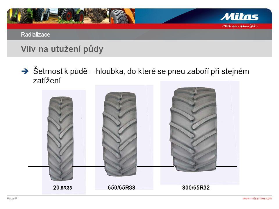 Page 9 Radializace Vyhláška www.mitas-tires.com  Věstník dopravy (27.7.1999) Na traktoru s nejvyšší konstrukční rychlostí do 40 km/h musí být použity pneumatiky stejného rozměru a konstrukce jen na jedné nápravě.