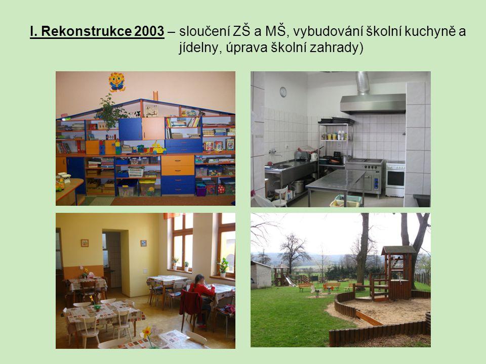 I. Rekonstrukce 2003 – sloučení ZŠ a MŠ, vybudování školní kuchyně a jídelny, úprava školní zahrady)