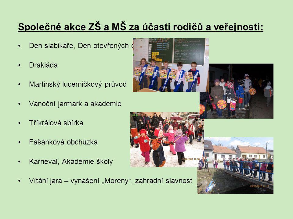 Společné akce ZŠ a MŠ za účasti rodičů a veřejnosti: Den slabikáře, Den otevřených dveří Drakiáda Martinský lucerničkový průvod Vánoční jarmark a akad