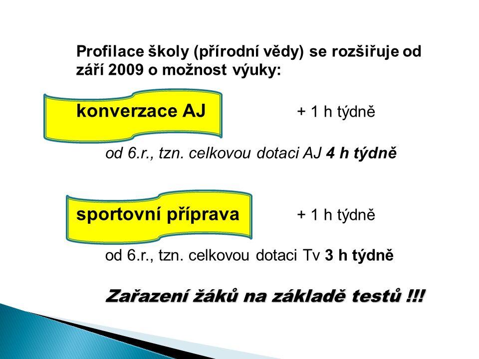 Profilace školy (přírodní vědy) se rozšiřuje od září 2009 o možnost výuky: konverzace AJ + 1 h týdně od 6.r., tzn.
