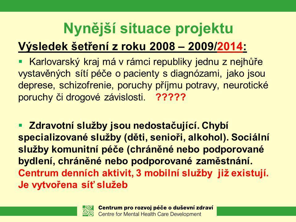 Nynější situace projektu Výsledek šetření z roku 2008 – 2009/2014:  Karlovarský kraj má v rámci republiky jednu z nejhůře vystavěných sítí péče o pacienty s diagnózami, jako jsou deprese, schizofrenie, poruchy příjmu potravy, neurotické poruchy či drogové závislosti.