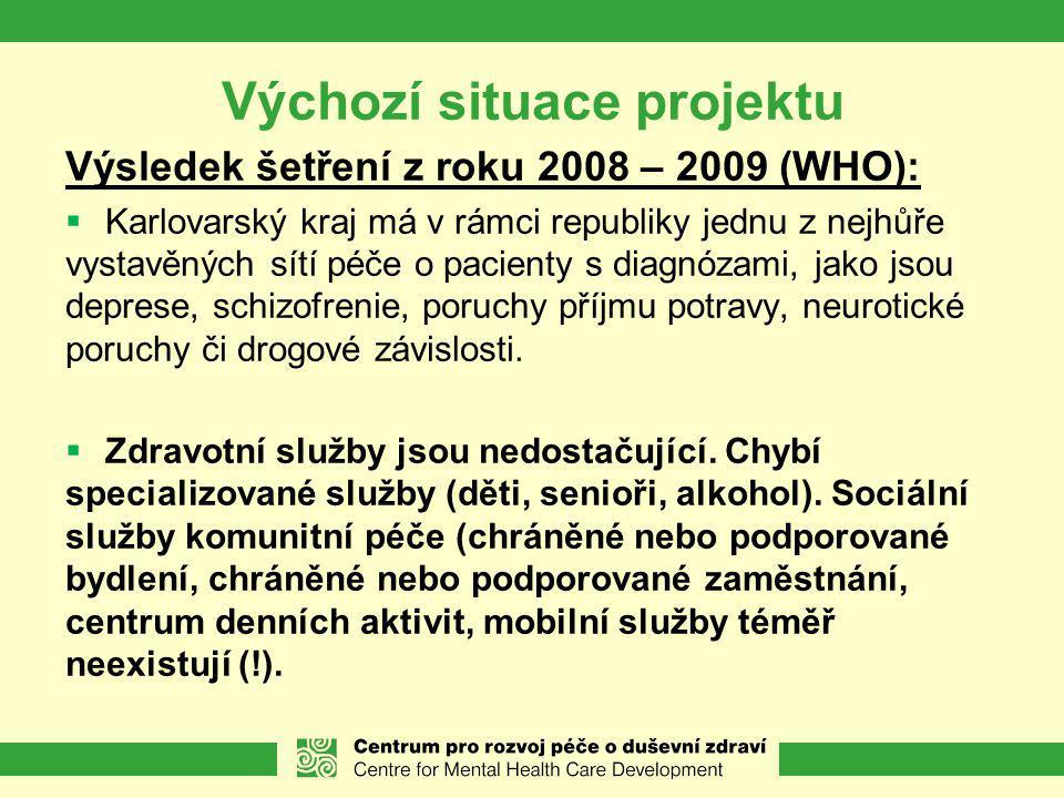 Výchozí situace projektu Výsledek šetření z roku 2008 – 2009 (WHO):  Karlovarský kraj má v rámci republiky jednu z nejhůře vystavěných sítí péče o pacienty s diagnózami, jako jsou deprese, schizofrenie, poruchy příjmu potravy, neurotické poruchy či drogové závislosti.