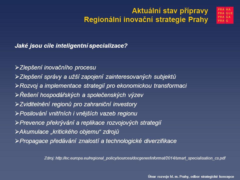 Aktuální stav přípravy Regionální inovační strategie Prahy Útvar rozvoje hl. m. Prahy, odbor strategické koncepce Jaké jsou cíle inteligentní speciali