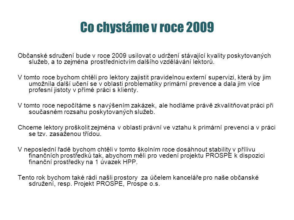 Co chystáme v roce 2009 Občanské sdružení bude v roce 2009 usilovat o udržení stávající kvality poskytovaných služeb, a to zejména prostřednictvím dalšího vzdělávání lektorů.