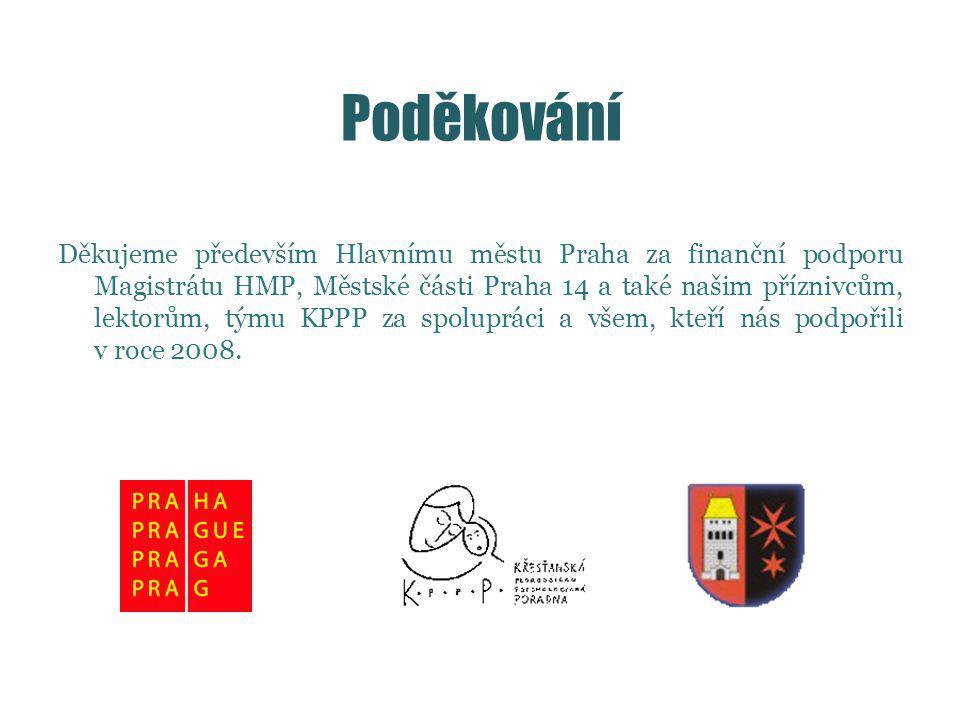 Poděkování Děkujeme především Hlavnímu městu Praha za finanční podporu Magistrátu HMP, Městské části Praha 14 a také našim příznivcům, lektorům, týmu KPPP za spolupráci a všem, kteří nás podpořili v roce 2008.